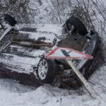 На трассе Серов-Ивдельпроизошло ДТП. Машина марки «Geely» улетела в кювет (видео)